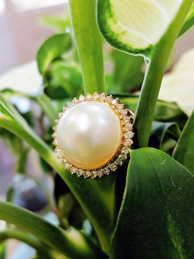14 Karat Yellow Gold Pearl Ring