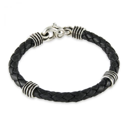 Silver and Black Leather Bracelet - A1320-8.5-L