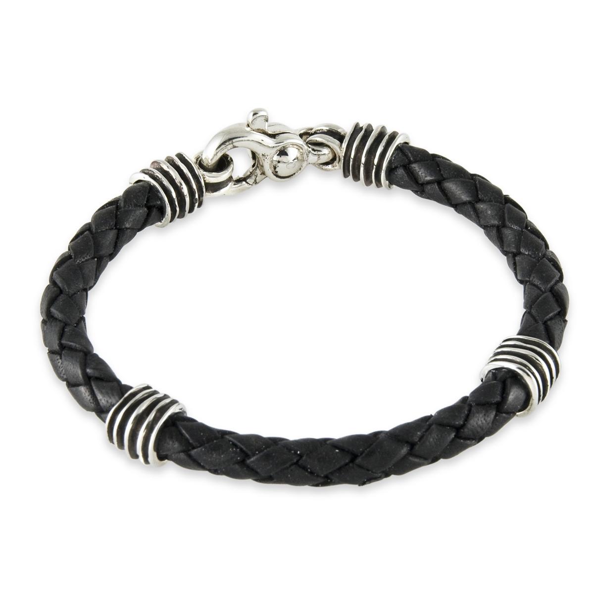 Silver and Black Leather Bracelet - A1320-8.5-L