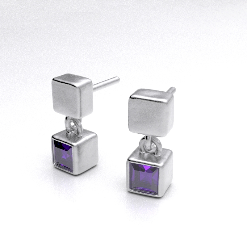 Amethyst Ice Cube Earrings B2217-A