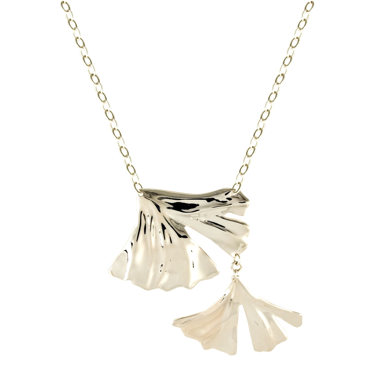 Double gingko leaves necklace