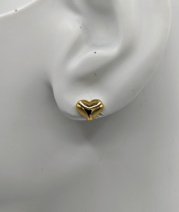 Ladies Light Weight 14kt Yellow Gold 3 Dimensional Puffed Heart Stud Earring (8mm)