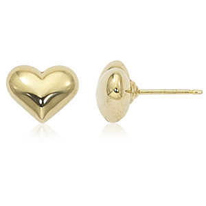 Ladies Light Weight 14kt Yellow Gold 3 Dimensional Puffed Heart Stud Earring