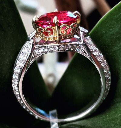 Ruby Ring -18 Karat White Gold with Round Diamonds