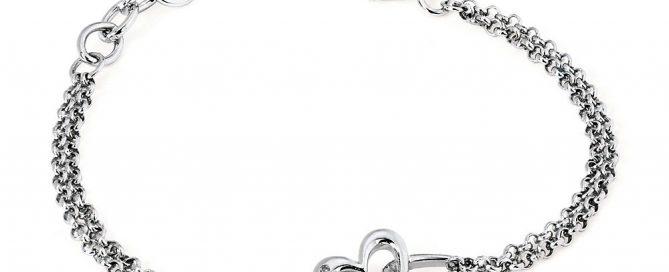 Sterling Silver Double Heart With Double Rollo Diamond Chain Bracelet