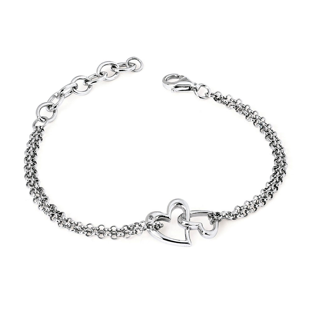 Sterling Silver Double Heart With Double Rollo Diamond Chain Bracelet