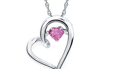 Sterling Silver Heart Pink Tourmaline Pendant
