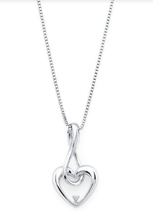 Sterling Silver Infinity Drop Heart Diamond Pendant Diamond on Sterling Silver Chain