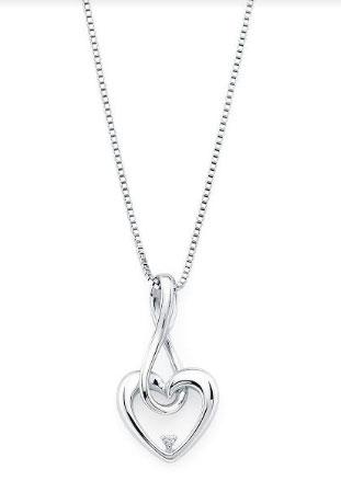 Sterling Silver Infinity Drop Heart Diamond Pendant Diamond on Sterling Silver Chain