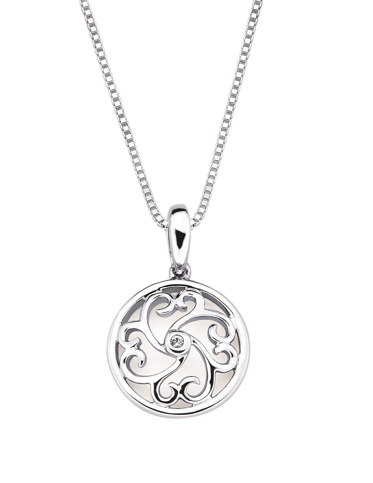 Sterling Silver Open Heart Scroll Pendant With Round Diamond