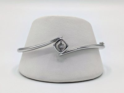 Sterling Silver Shimmering Diamonds Bangle Bracelet .05 Ctw. Diamonds