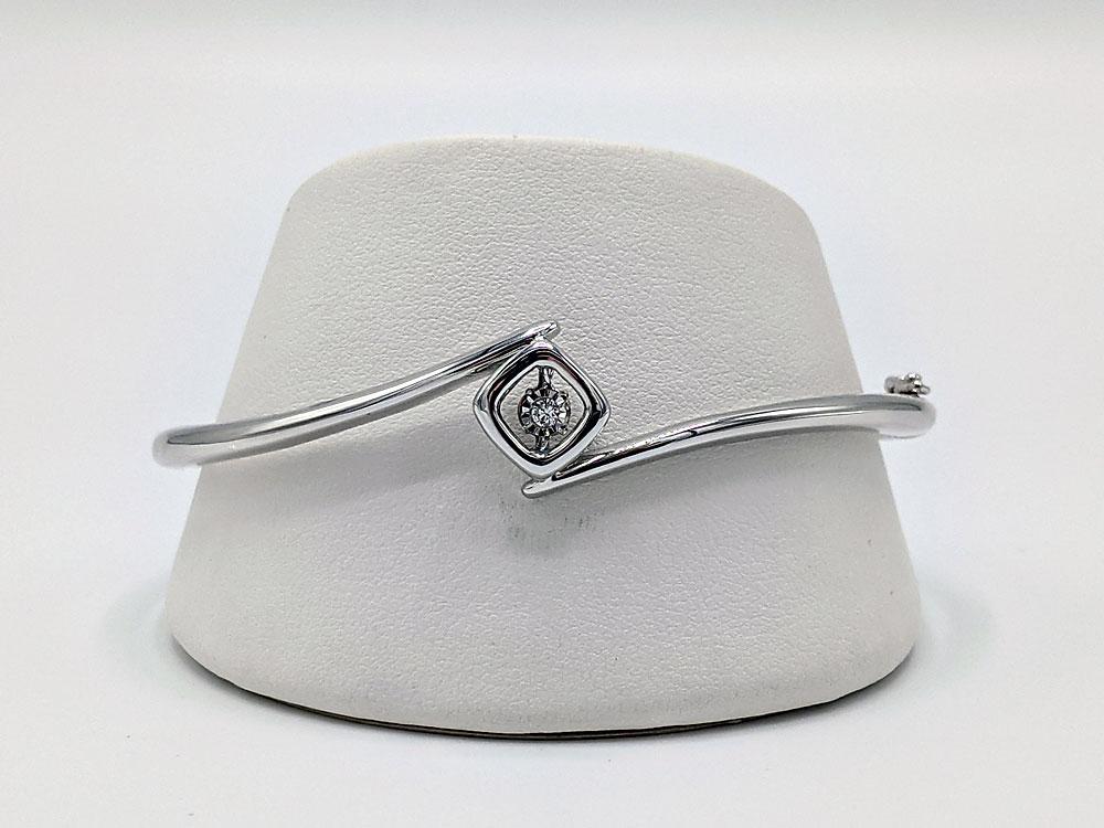 Sterling Silver Shimmering Diamonds Bangle Bracelet .05 Ctw. Diamonds