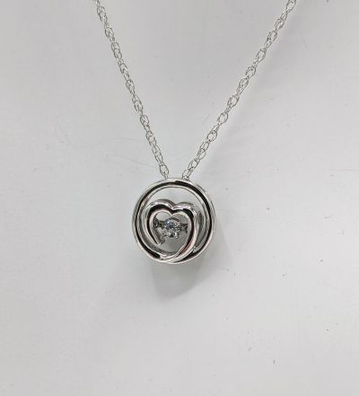 Sterling Silver Diamond Pendant on 18 Inch Sterling Silver Light Rope Chain