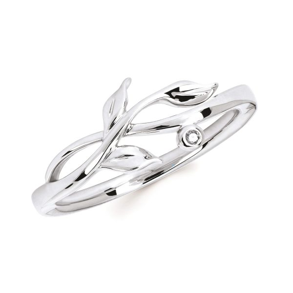 Sterling Silver Vine Ring with Diamond