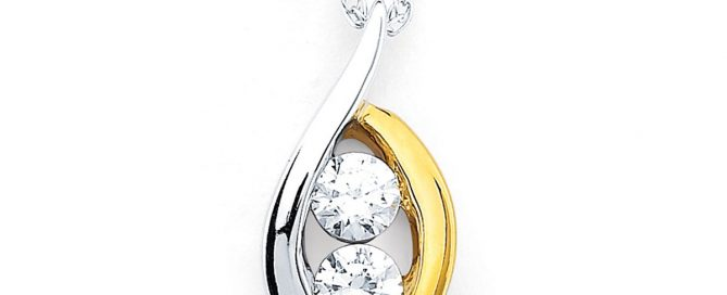 Two Tone Two Stone Diamond pendant