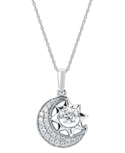White 14 Karat Sun & Moon Diamond Pendant on White Gold Light Rope Chain