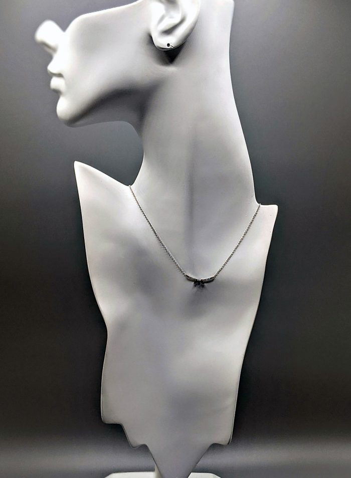 White 14kt Gold Diamond Curved Bar Necklace