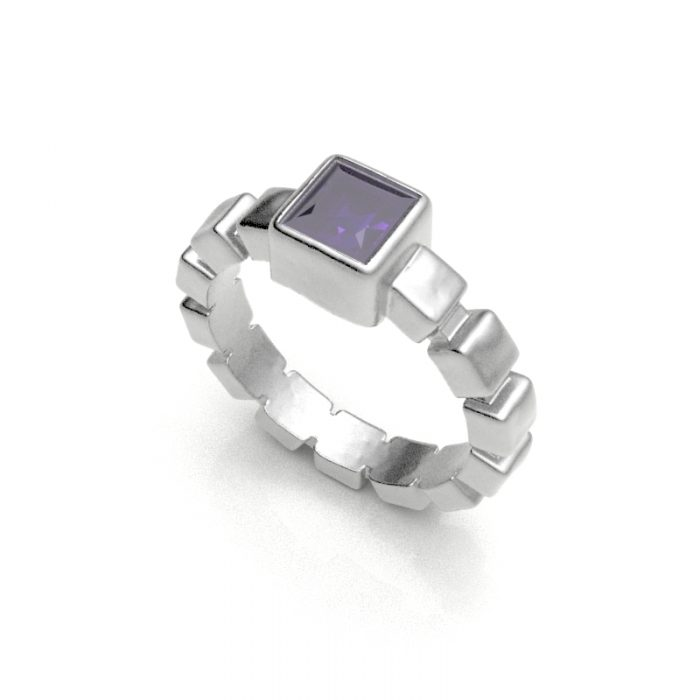 Sterling Silver Ice Cube Band With One Princess Cut Amethyst