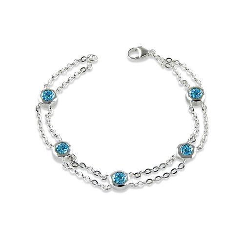 Silver Blue Topaz Bracelet A1633-7-BT