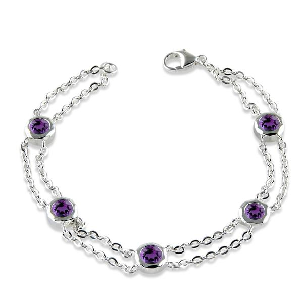 Silver Amethyst Bracelet - A1633/7/A