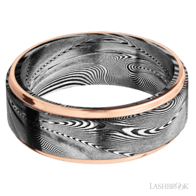 Damascus with 14kt Rose Gold Edges
