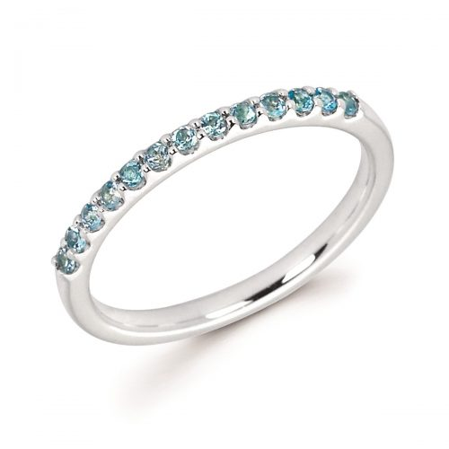 Stackable White Gold Prong Set Blue Topaz Band