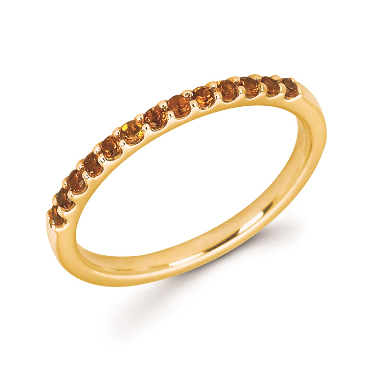 Stackable Yellow Gold Prong Set Citrine Band