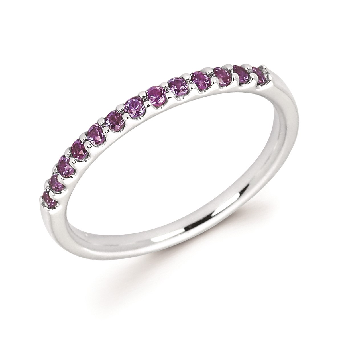 Stackable White Gold Prong Set Created Alexandrite Band
