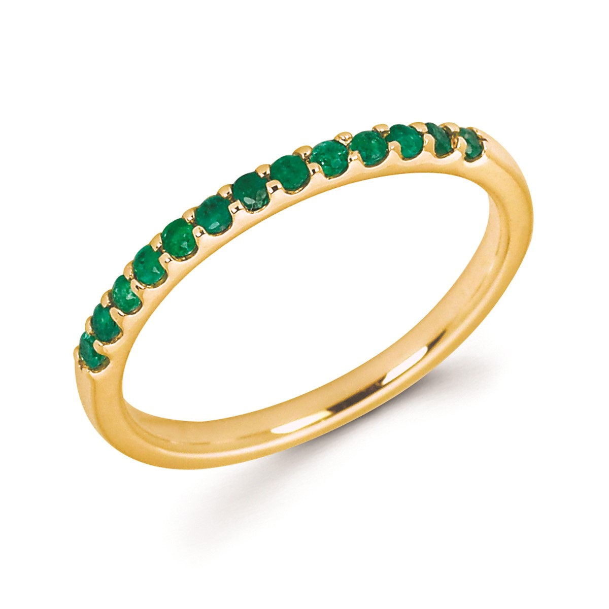 Stackable Yellow Gold Prong Set Emerald Band