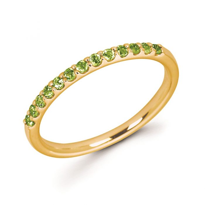 Stackable Yellow Gold Prong Set Peridot Band
