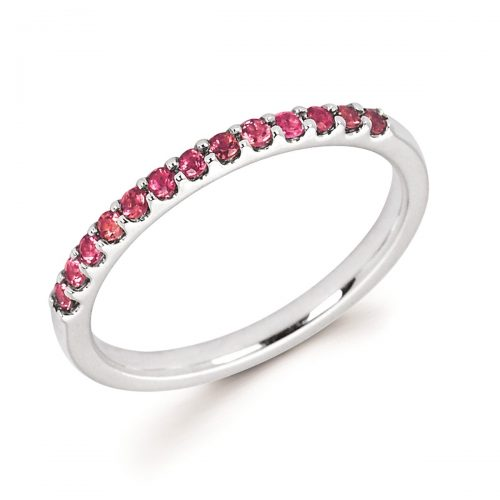 Stackable White Gold Prong Set Pink Tourmaline Ring