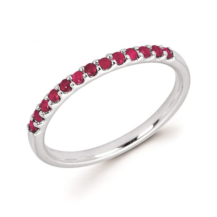Stackable White Gold Prong Set Ruby Band