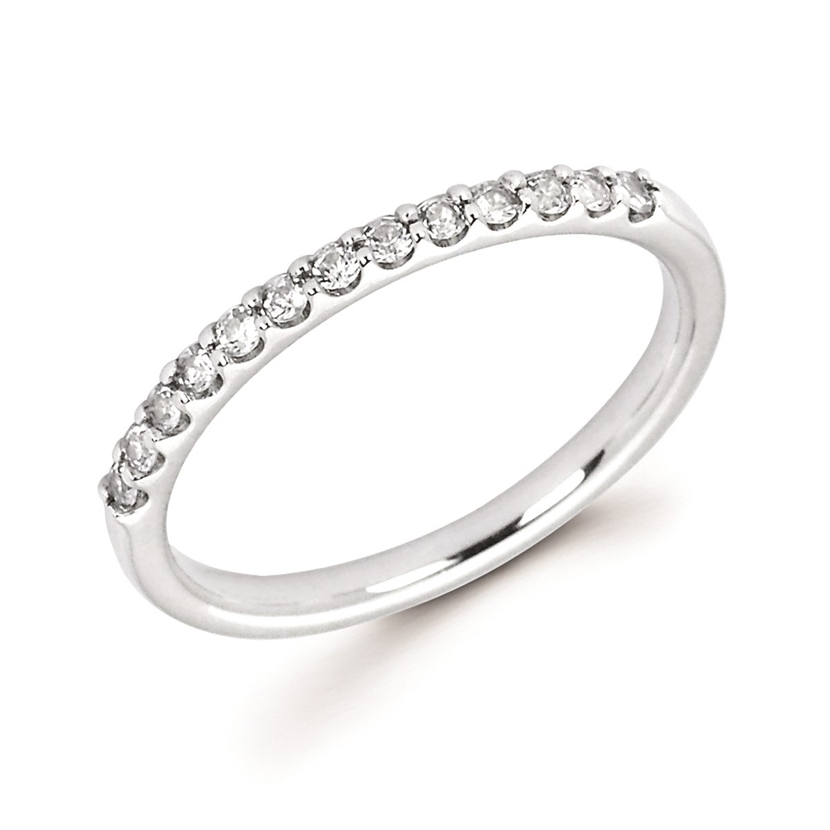 Stackable White Gold Prong Set White Sapphire Band